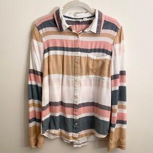 Roxy White, Blue, Pink&Tan Striped Button Up Shirt